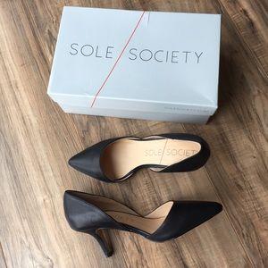 Sole Society Black Jenn Leather D'Orsay Pump Heel